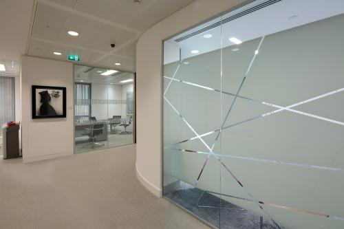 Frameless glass partition system with manifestation
