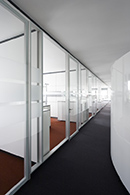 Flush glazed partitions